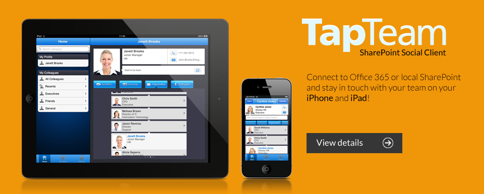 TapTeam SharePoint Social Client for iPhone and iPad